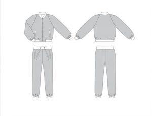 технический рисунок женского костюма из твида